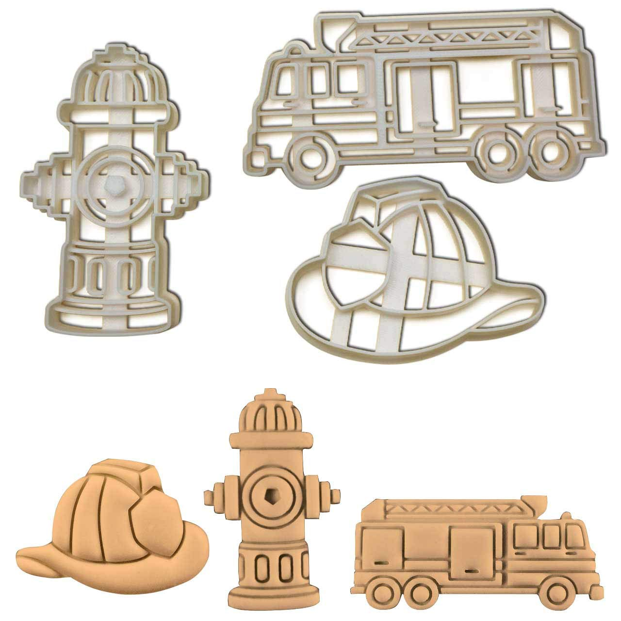 Set of 3 Fireman themed cookie cutters (Designs: Fire Truck, Fire Hydrant, and Fire Helmet), 3 pieces - Bakerlogy