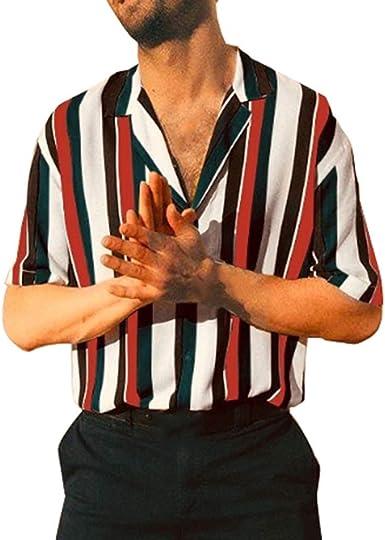 Mcaishen Camisa De Los Hombres Camisa con Estampado De Rayas ...