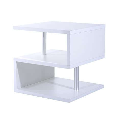 HomCom Modern Contemporary Multi Level S Shaped End Table (White)
