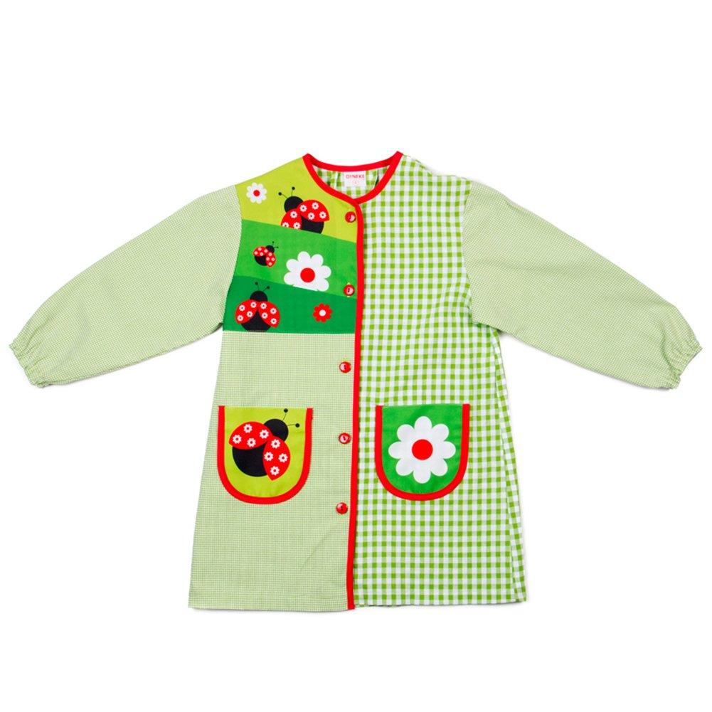 Dyneke Bata escolar botón verde Mariquitas (personalización opcional gratuita con nombre brodado)