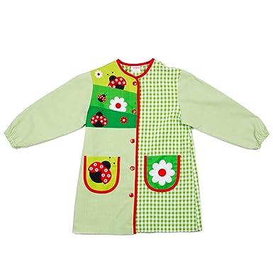 Dyneke Bata escolar botón verde Mariquitas (personalización opcional gratuita con nombre bordado)(Talla