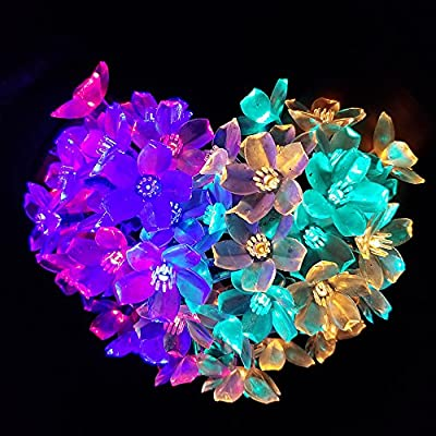 JML Christmas Solar String Lights 23ft 50 LED Fairy Flower Light for Garden Party Fence Xmas Tree Decorations