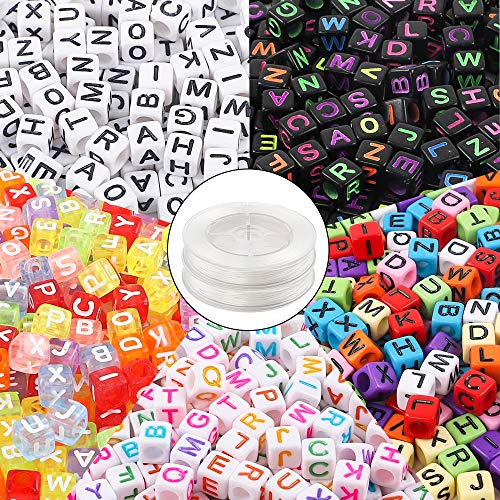 DICOBD 1000pcs 5 Colors Letter Beads Acrylic Alphabet Cube Beads for Jewelry Making with 2 Elastic String Cords ()