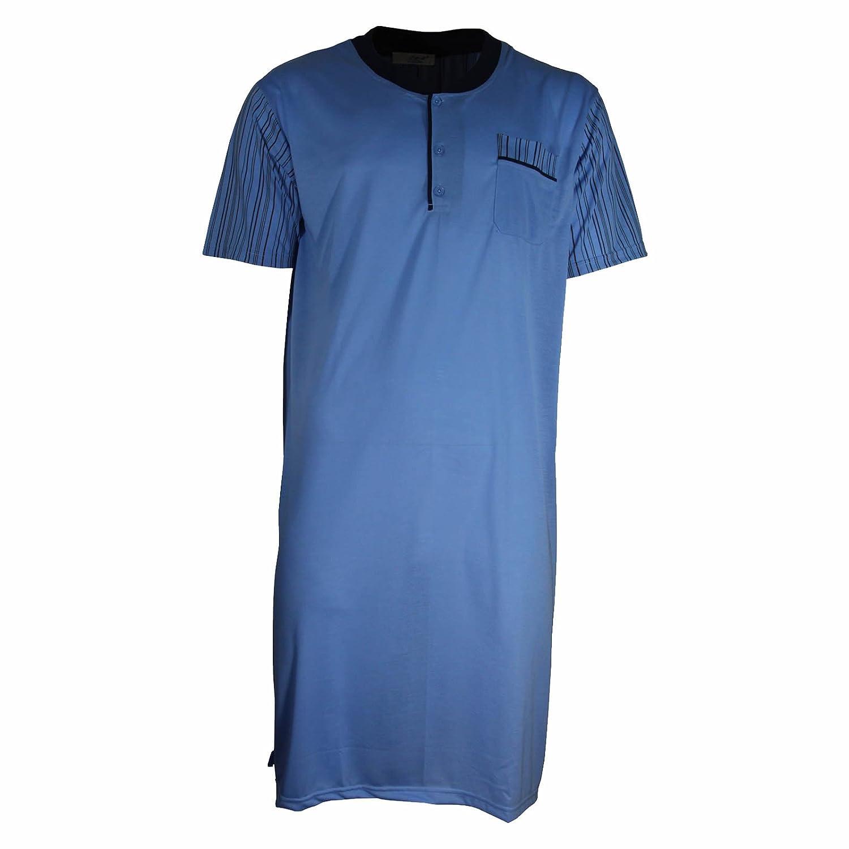 Lavazio Herren Nachthemd Kurzarm mit Knopfleiste und V-Ausschnitt in 6 Farben