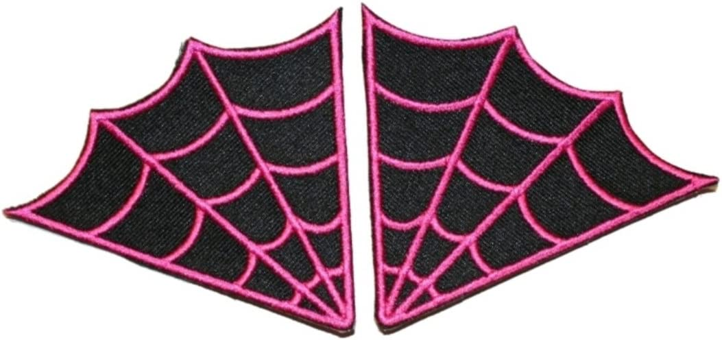 Applique Punk Pair Goth Spiderweb Collar Iron-On//Sew-On Embroidered Patch