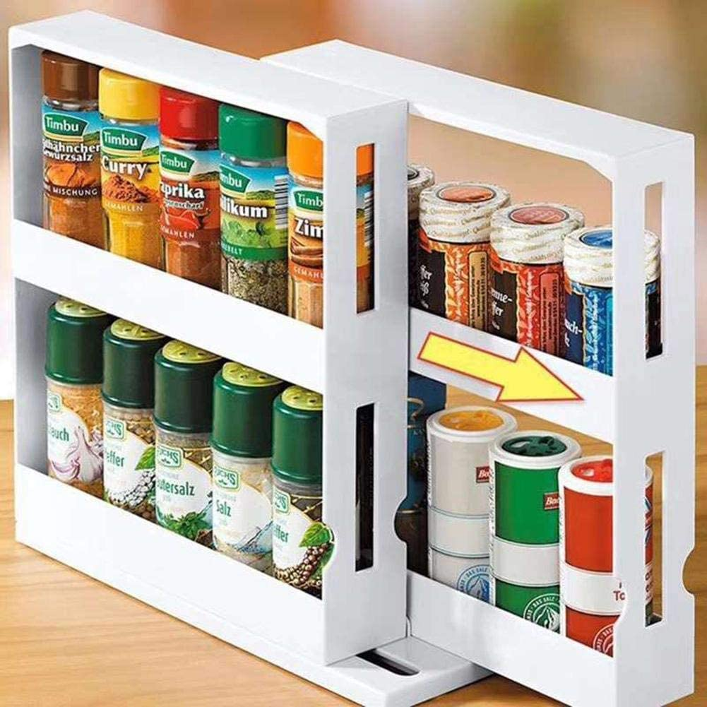 Spice Rack, Multi-Functional Rotating Storage Rack Seasoning Storage Box, Free Standing Modern Kitchen Cabinet Organiser Rack for Spices,Condiments,Canned Food