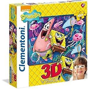 Clementoni 20096 Puzzle 3d Sponge Bob 104 Pezzi