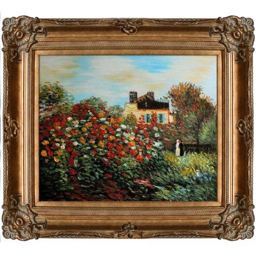 overstockArt The Artist's Garden Framed Oil Painting Claude Monet