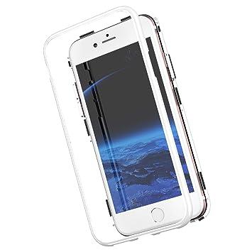 Funda magnetica Compatible con iPhone 8/7 Carcasa 360 Grados 2 en 1 rígido PC Tapa [Adsorción Magnética] Marco de Metal Caja Dura Trasera de Vidrio ...