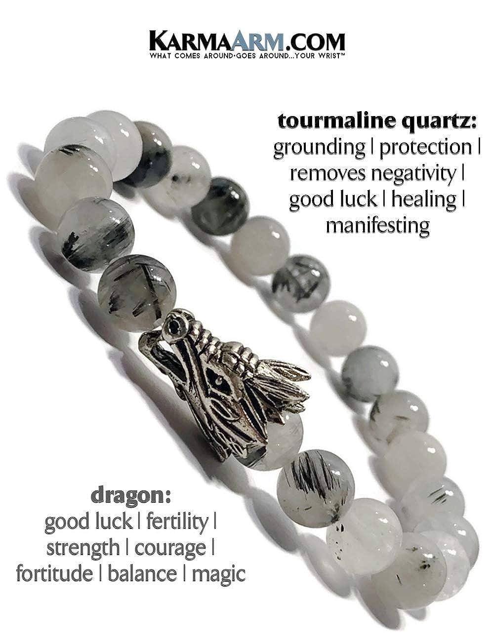 Beaded Meditation Spiritual Stretch Mantra Reiki Healing Energy Boho Charm Chakra Wrap Yoga Jewelry /& Gemstone Gifts Challenges Natural Tourrmaline Quartz Bracelet Dragon Bracelet