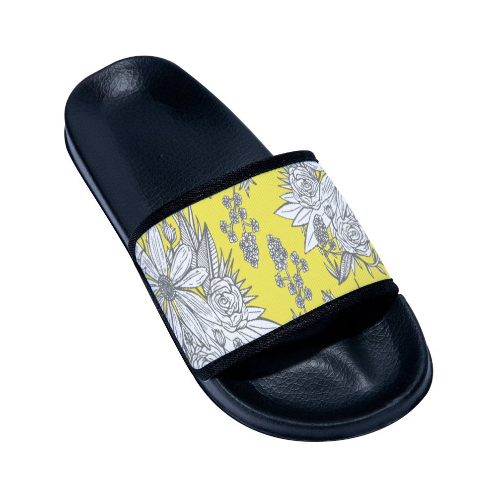 Fhdang Decor Womens and Men Slides Sandals with Flower Pattern Anti-Slip Pool Bath Shower Gym House Sandals