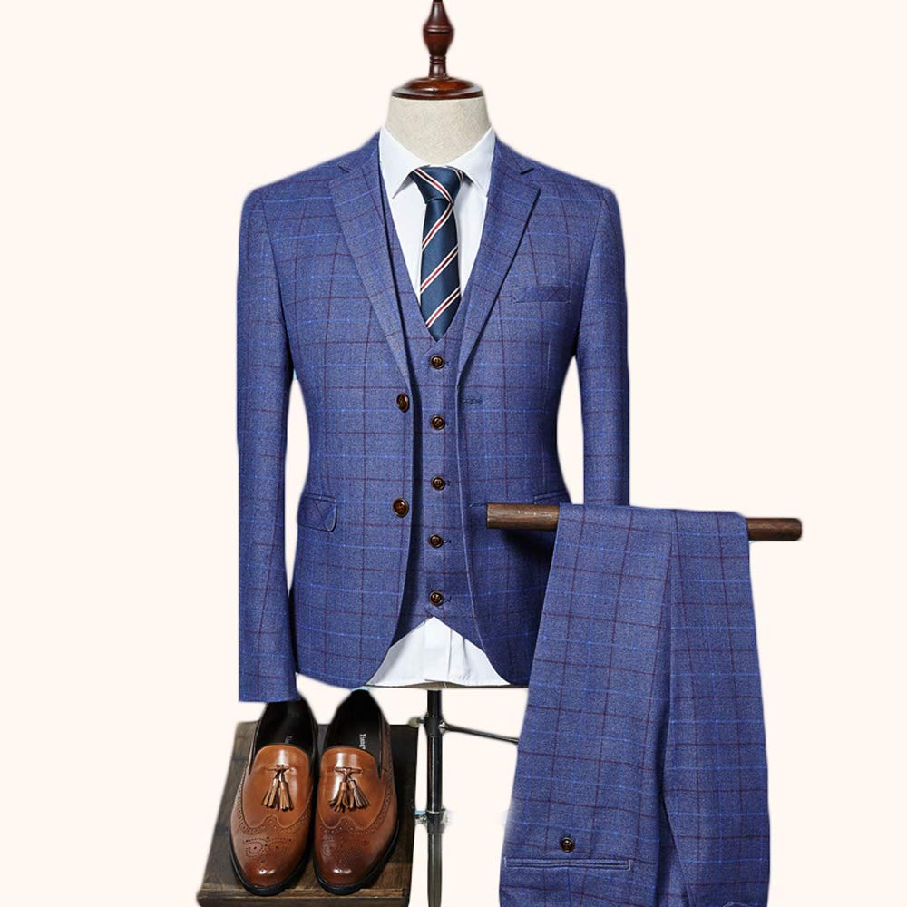 Incluye: Chaqueta, Chaleco, Pantalones; excluyendo Zapatos de Cuero FIYOMET Trajes para Hombres Business Slim Plaid Set Plaid Suit 3PC