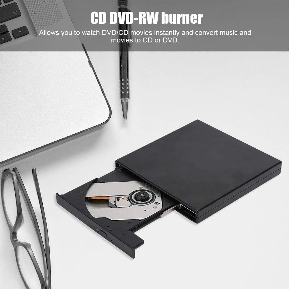 Black Optical Drive USB2.0 DVD//RW Laptop Desktop CD-ROM Optical Drive CD DVD-RW Burner for Windows 2000//XP//Vista//Windows 7