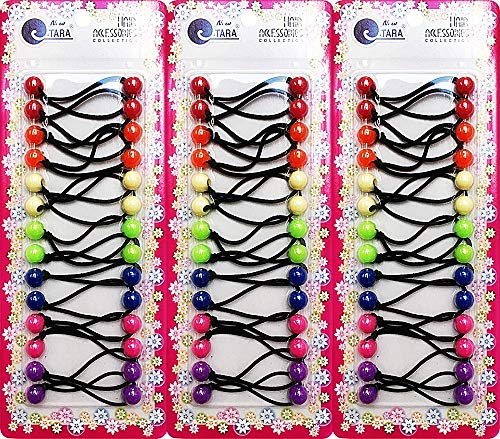 Cripsy Collection Girls Twinbead Multi Cute Design Ponytail Elastics Pack of 3 Selection (BS05)