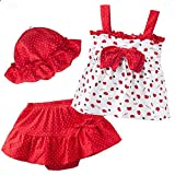 Katoot 016 New Hot Summer Baby Girls Clothing Set Children T-Shirt+Tutu Pants+Hat 3PCS Kids Newborn Bebe Clothes Set For 0-2 Years (7-9 Months, Red)