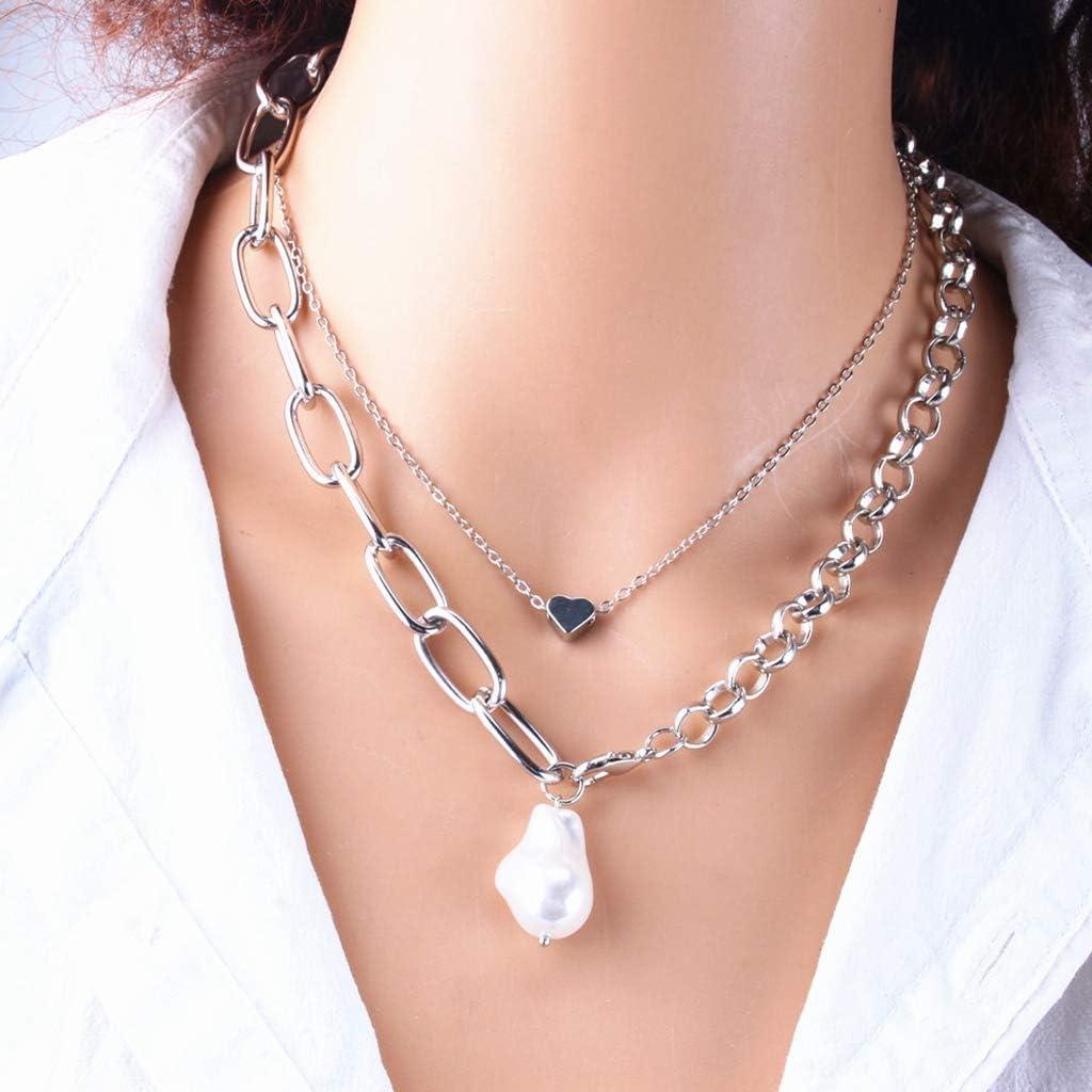 N/O Collar Collar de Perlas de Moda 2020 para Mujer Conjunto de Collar Colgante de corazón Lindo Gargantilla Larga