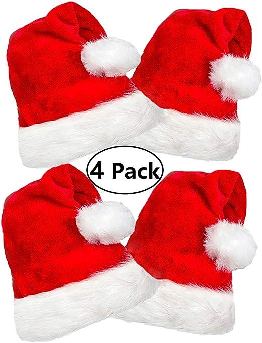 4 unidades de peluche gorro de Papá Noel, tradicional rojo y blanco gorro de Papá Noel de Navidad de felpa para Chirstmas parte, tamaño adulto: Amazon.es: Hogar