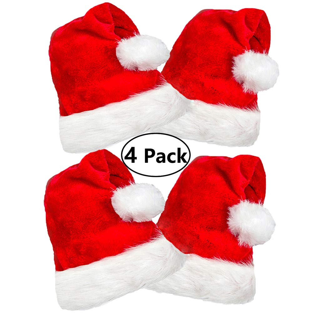 4 Pack Plush Santa Hat, Traditional Red and White Plush Christmas Santa Hat for Christmas Party, Adult size by COOLJOY