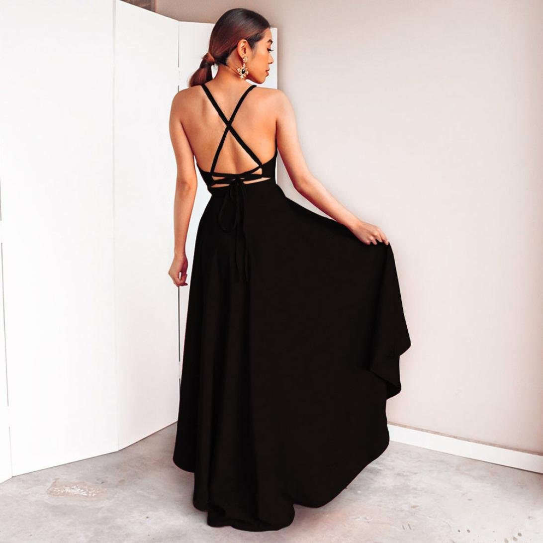 Sleevesless Long Dress,Backless V Neck Party Asymmetry Dress Cocktail Prom Bridesmaid Gown Dress Jushye M, Black