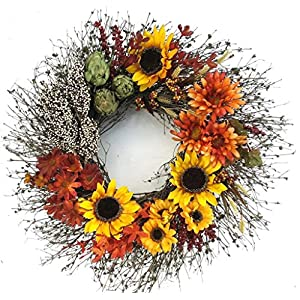 Sunflower Festival Autumn Decorative Wreath Front Door Fall Seasonal Interior Home Décor 13