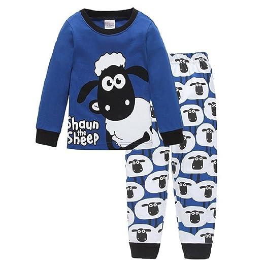 f8d9f1b86dd9e Hooyi Little Boy Pajamas Set Children Sleepwear Clothes Suit Cotton Shaun  The Sheep