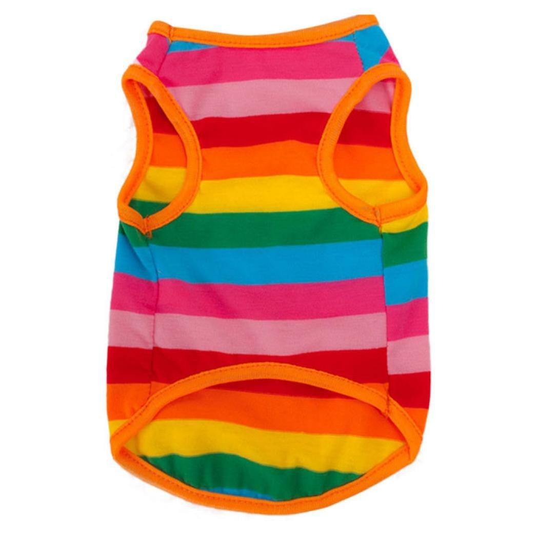 Hmeng Regenbogen-Streifen-Haustierhemd Regenbogen-Streifen-Haustierhemd Regenbogen-Streifen-Haustierhemd Hundekleidung Welpen-Katzen-Kleid-Kostüm-nette Hundehaustier-Kleidung 9be54e