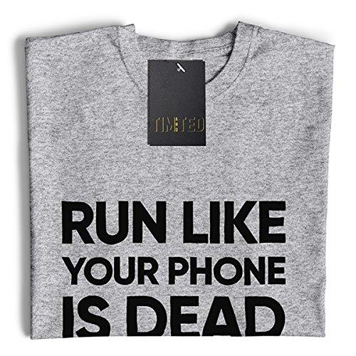 Eseguire Come Il Telefono è Morto Stampato Slogan Citazione Design Premium T-Shirt da Donna
