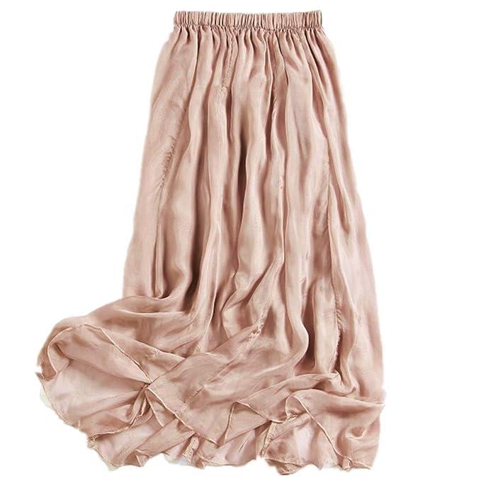 0537cd5edc MULLSAN Women Retro Vintage Double Layer Chiffon Pleat Maxi Long Skirt Dress  (A Beige)