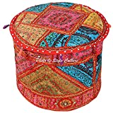Stylo Culture Cotton 22'' Round Decorative Indian Embroidered Mirror Patchwork Large Ottoman Stool Pouf Cover Multi Color Ethnic Boho Decor