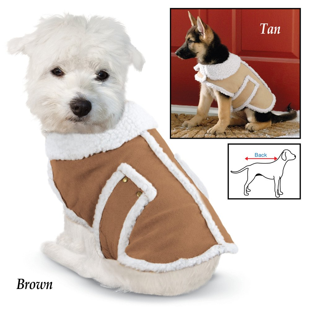 Shearling Fleece Dog Winter Coat, Tan, X-Large by Collections Etc (Image #2)