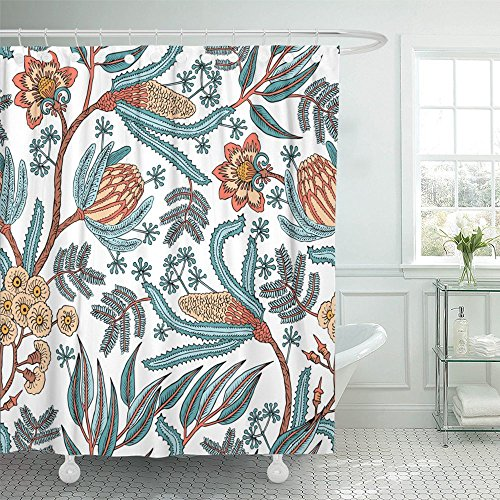 Emvency Shower Curtain Polyester Print 66x72 Inches Batik with Fantasy Flowers Natural Floral Curl Paisley Embroidery Block Indian Bathroom
