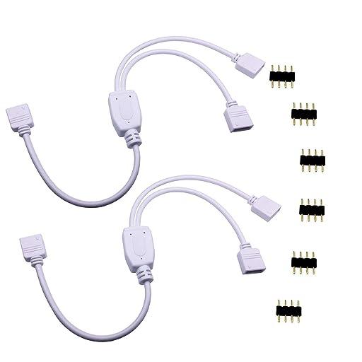 LitaElek 2分岐接続ケーブル 4 pin RGB LEDテープコネクタ30cm LED分配スプリッタケーブルSMD 5050 3528 3528 RGB LEDテープライトLEDストリップ用4ピンメス延長ケーブル(2分岐/ 2個)