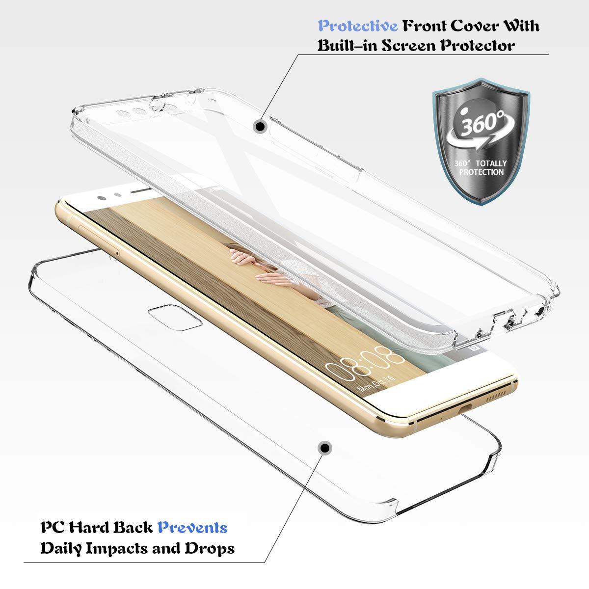 Protecteur d/écran avec Absorption de Anti-Choc Cover Winhoo pour Coque Huawei P Smart 2019 360 Degr/és Gel Silicone TPU Souple Housse Etui de Protection Transparente