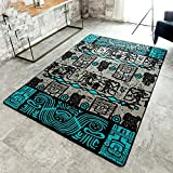 Vintage Fashion Ethnic Style Livingroom Rug Creative Primitive Tribes Abstract Design Bedroom Area Rugs Thin (4'0x5'6, Blue and Black)