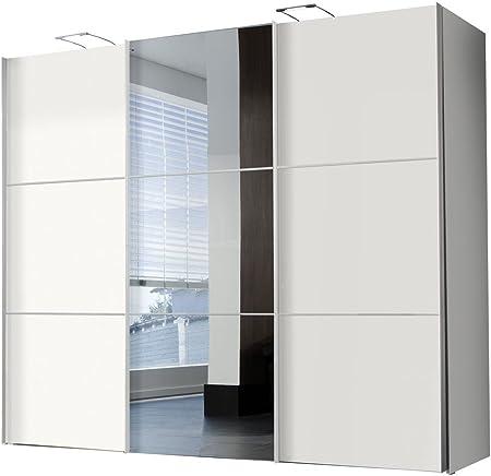 Solutions 46355 – 195 – Armario de Puertas correderas B/H/T 300 x 216 x 68 cm/Blanco/Espejo: Amazon.es: Hogar