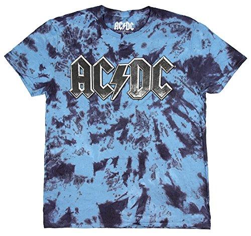AC/DC Rock n Roll Band Mens' Graphic Logo Fan Blue Tie Dye T-Shirt (Band Logo Shirt)