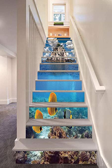 Amazon com: anselc05ls Ocean 3D Stair Riser Stickers Removable Wall