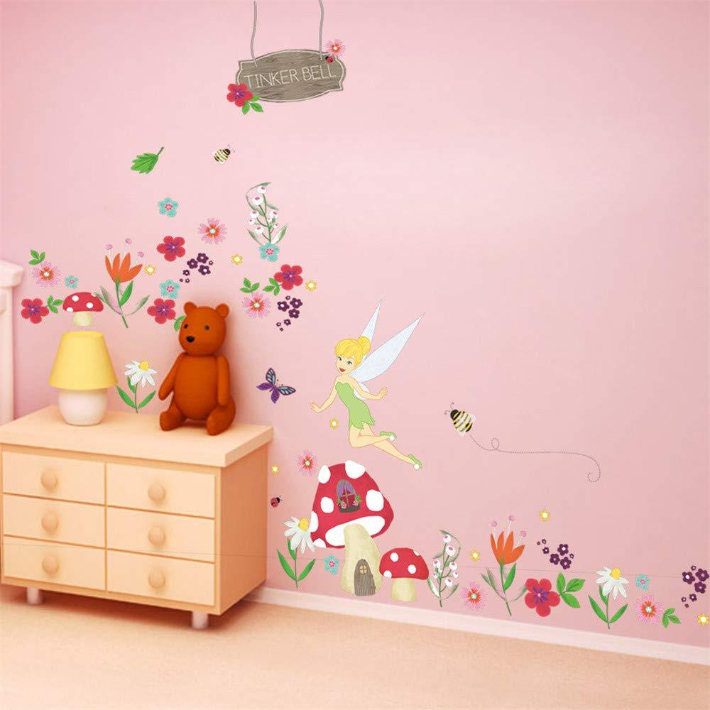 ufengke Stickers Muraux F/ée des Fleurs Autocollants Mural Maison Champignon pour Chambre Enfant Fille D/écoration Murale