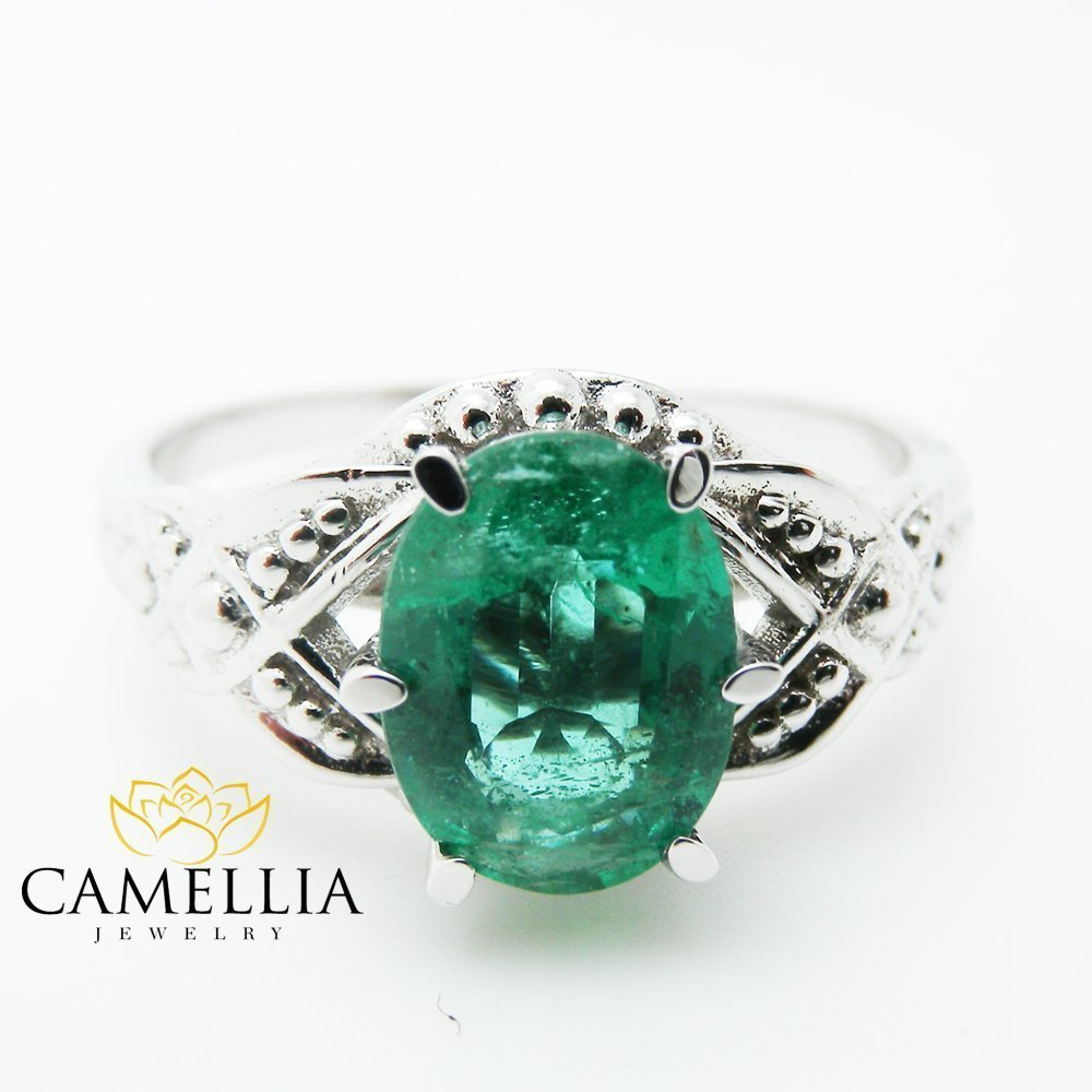 14K White Gold Emerald Engagement Ring 1.5carat Oval Cut Colombian Emerald