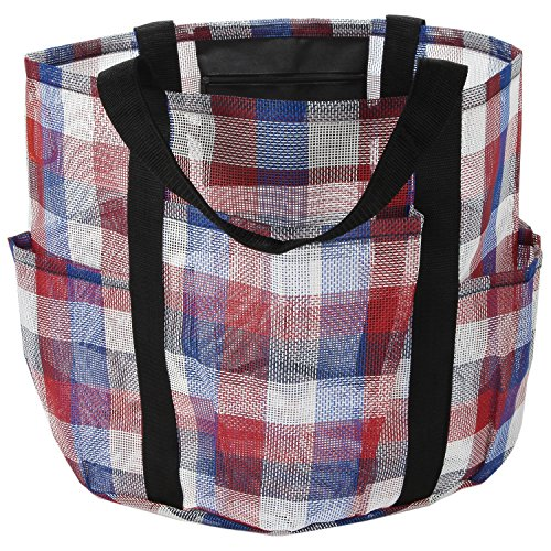 All Purpose Bag by SC Lifestyle- Tote w/ Zipper Pocket & Carabiner- Use As A Beach Bag or Grocery -