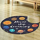 Quotes Decor Circle carpet By Nalahomeqq Cute Outer Space Planets And Star Cluster Solar System Moon And Comets Sun Cosmos Illustration Room Accessories Multi-Diameter 130cm(51'')