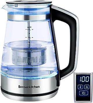 Bonsenkitchen Hervidor de Agua de Vidrio Eléctrico con Temperatura Regulable, Función de Manten...