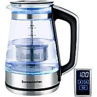 Bonsenkitchen 1,7 l glazen waterkoker/theepot - digitale temperatuurregeling glazen theemaker voor thee of koffie glazen…