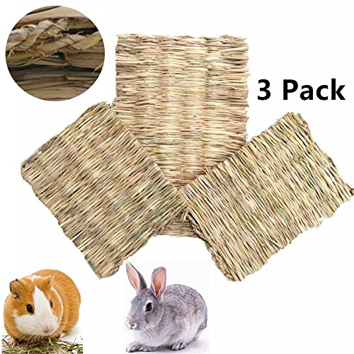 Edible Grass (Lifestyle Natural Woven Grass Mats Large for Rabbits,Guinea Pigs, Bunnies, Chinchilla Ferret,Hamster,3-Pack Bunny Grass Mat(1 Large,2 Small))