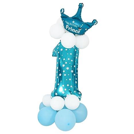 TOOGOO Figuras de Globo Latex Azul Gigante Numero Papel Globo Globo Bebe Ducha Partido ninos Cumpleanos