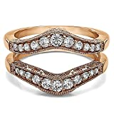 10k White Gold Vintage Style Filigree and Milgraining Contour Ring Guard with Diamonds (G-H,I2-I3) (0.75 ct. tw.)