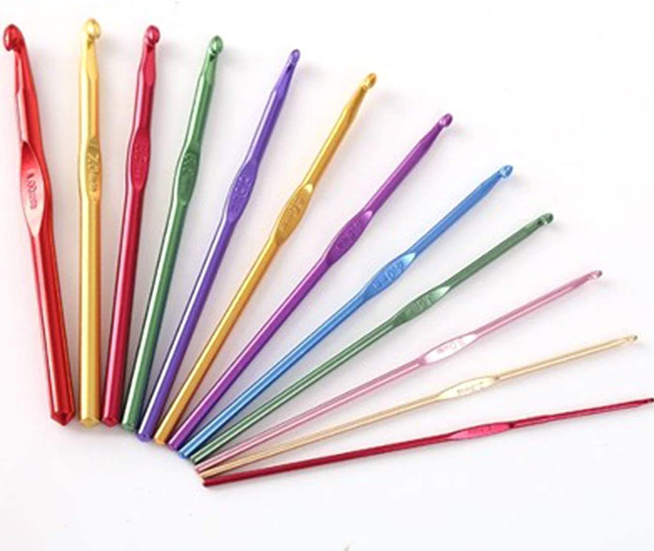 Ballylelly 12 pezzi//set ergonomici multi colore in acciaio inossidabile uncinetti filati ferri da maglia 2-8mm strumenti per cucire con custodia