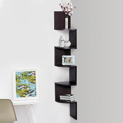 Amazon.com: Finether 5-Tier Zig Zag Floating Wall Corner Shelf ...