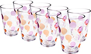 Plastic Water Tumblers, 12-ounce Acrylic Break-Resistant Drinking Glasses Dishwasher Safe Bathroom Cups Stackable Juice Glasses Beverage Cup| Clear Set of 8 (Pink)