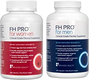 FH PRO Combo Pack, Daily Fertility and Preconception Nutrient Support, Hormone Balance for Women, Sperm Health for Men, 30 Day Supply